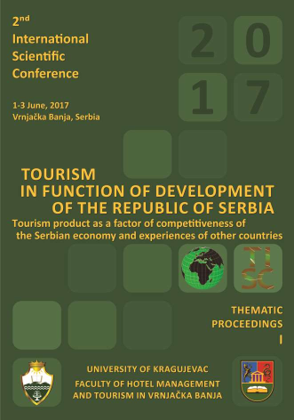 The Second International Scientific Conference, TOURISM IN FUNCTION OF DEVELOPMENT OF THE REPUBLIC OF SERBIA - Тourism product as a factor of competitiveness of the Serbian economy and experiences of other countries, Thematic Proceedings I
